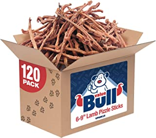 ValueBull Lamb Pizzle Sticks, 6-9 Inch, 120 Count, Natural Dog Treats - Grass Fed, USDA/FDA-Approved