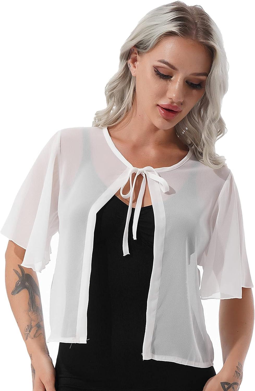 FEESHOW Women's Short Sleeve Soft Chiffon Shrug Cardigan for Evening Dresses Open Front Lace-up Shawl Cape
