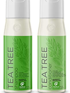 Tea Tree Shampoo and Conditioner for Color Treated Hair - Sulfate Free Anti Dandruff Hair Care for Women and Men - Natural Itchy Scalp Cleanser - Hydrating Deep Conditioner for Dry Damaged Hair -10 oz
