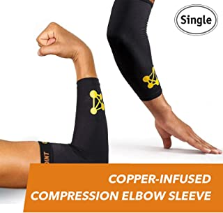 CopperJoint – Copper-Infused Compression Elbow Sleeve, High-Performance Design Promotes Proper Blood Flow to Help Improve Circulation and Support Healing for All Lifestyles, Single Sleeve