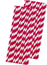 Stripe Paper Straws - Hot Pink White - 7.75 Inches - Pack of 50 - Outside the Box Papers Brand