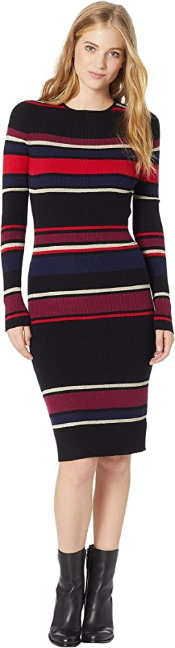 Jaslene Bodycon Striped Sweater Dress