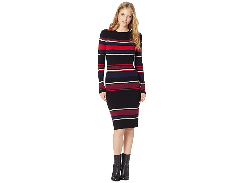 Cupcakes and Cashmere Jaslene Bodycon Striped Sweater Dress (Black) Women
