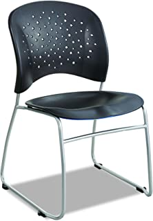 Safco Products Reve Guest Chair Sled Base with Round Back, Black