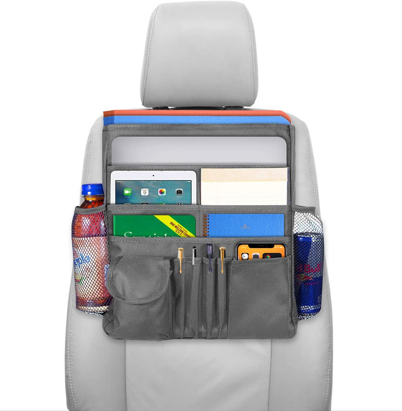 Headrest Storage Bag for Binders and Supplies Travel Accessories Tote Bag with Multiple Large Pockets A Closable Flap and A Shoulder Strap Mobile Office Bag Grey lebogner Front Seat Organizer