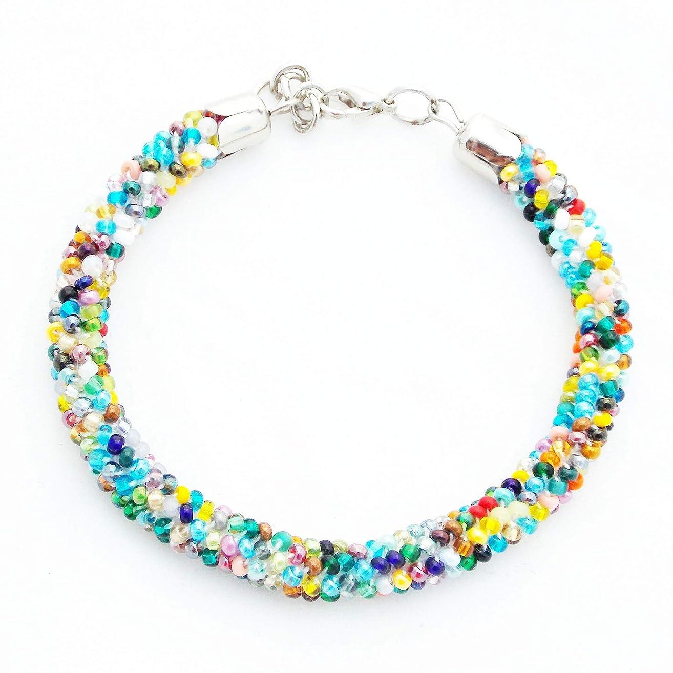Handmade Colorful minimalist bracelet Crochet dainty bracelet Rainbow confetti bracelet for women Gift idea for mom Beaded stackable bracelet