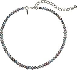 Kenneth Jay Lane - Grey Freshwater Pearl Choker with Rhodium Clasp Necklace