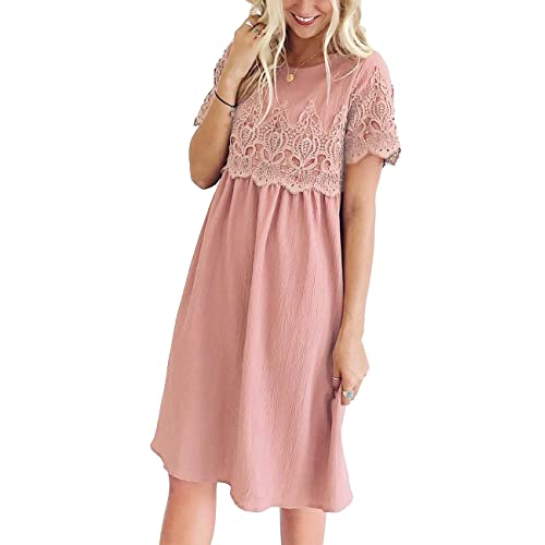 9f4a20cfb5e Lookbook Store Women Lace Crochet Back Keyhole A Line Short Casual Babydoll  Dress