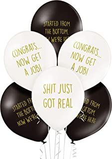 Rude Graduation Balloons - Pack of 12 Premium White and Black Funny Balloons