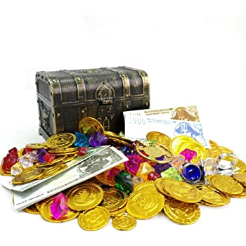 200+ Pieces Pirate Toys Gold Coins and Pirate Gems Pirates Rings Earrings Pearls Jewelery Play set, Treasure for Pirate Party (115 Coins+100g Gems+20 banknotes)