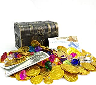 200+ Pieces Pirate Toys Gold Coins and Pirate Gems Pirates Rings Earrings Pearls Jewelery Play set, Treasure for Pirate Pa...