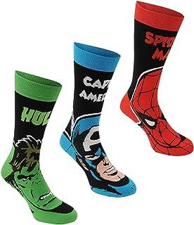 Marvel, Comics tripulación Calcetines para Hombre 3 Pack Negro/Multi Carácter calcetín