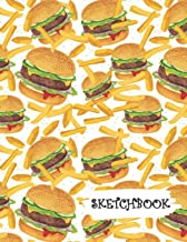 Sketchbook: Hamburger Cheeseburger & French Fries Fun Framed Drawing Paper Notebook