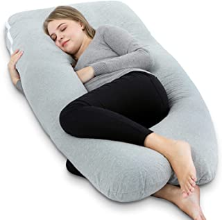 "AngQi 55"" Full Body Pregnancy Pillow, U Shaped Maternity Pillow for Pregnant Women and Back Pain, with Body Pillow Jersey Cover, Gray"