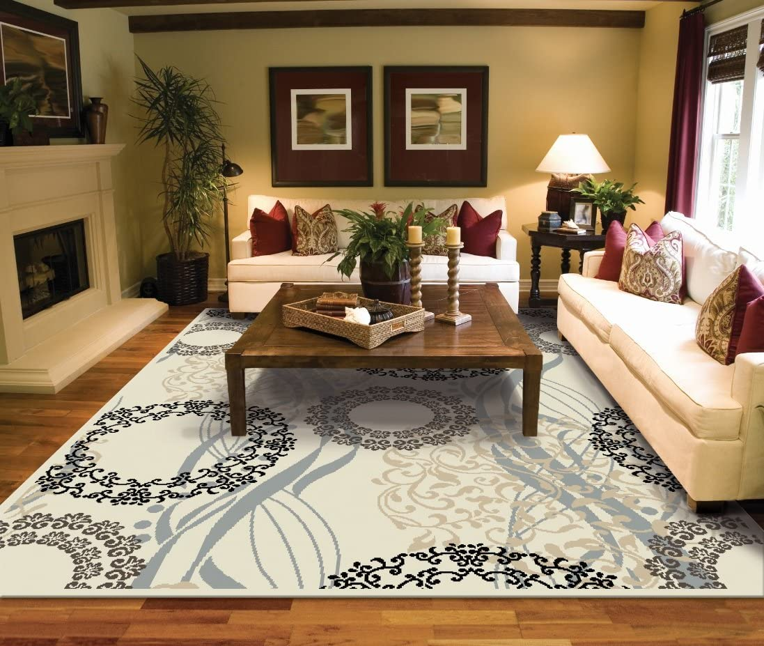 Amazon.com: Large Rugs for Living Room 8x10 Cream Area Rugs 8x10