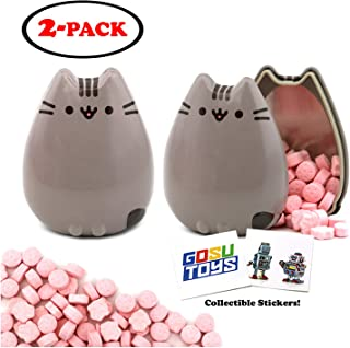 Pusheen Tin Candy (2 Pack) Sweet Strawberry Flavor Gift Stuffer with 2 GosuToys Stickers