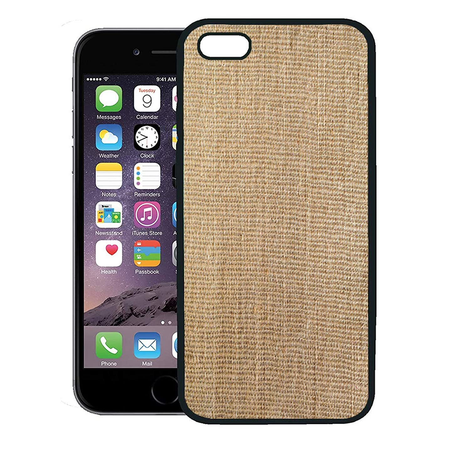 Semtomn Phone Case for iPhone 8 Plus case Cover,Top View of Natural Brown Hessian Gunny Sack is Inexpensive Garment Made Burlap Formed Jute Coarsely,Rubber Border Protective Case,Black