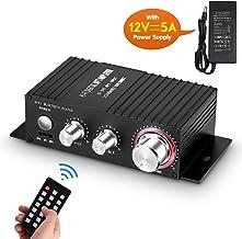 Mini Amplificador de Audio Bluetooth, Receptor estéreo, Amplificador Remoto, Reproductor de música USB con Fuente de alimentación