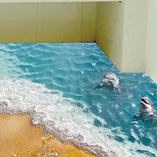 WOCACHI Wall Stickers Decals 3D Beach Floor/Wall Sticker Removable Mural Decals Vinyl Art Living Room Decor B Art Mural Wallpaper Peel & Stick Removable Room Decoration Nursery Decor