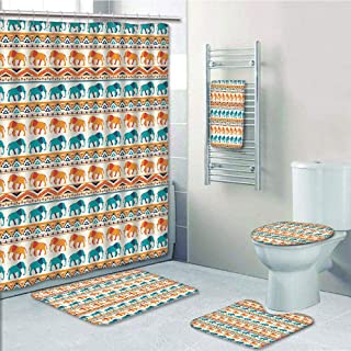 Bathroom 5 Piece Set shower curtain 3d print Multi Style,Elephant,Horizontal Borders with Exotic Animals Ethnic Geometric Orient Design Decorative,Turquoise Orange Cream,Bath Mat,Bathroom Carpet Rug,N