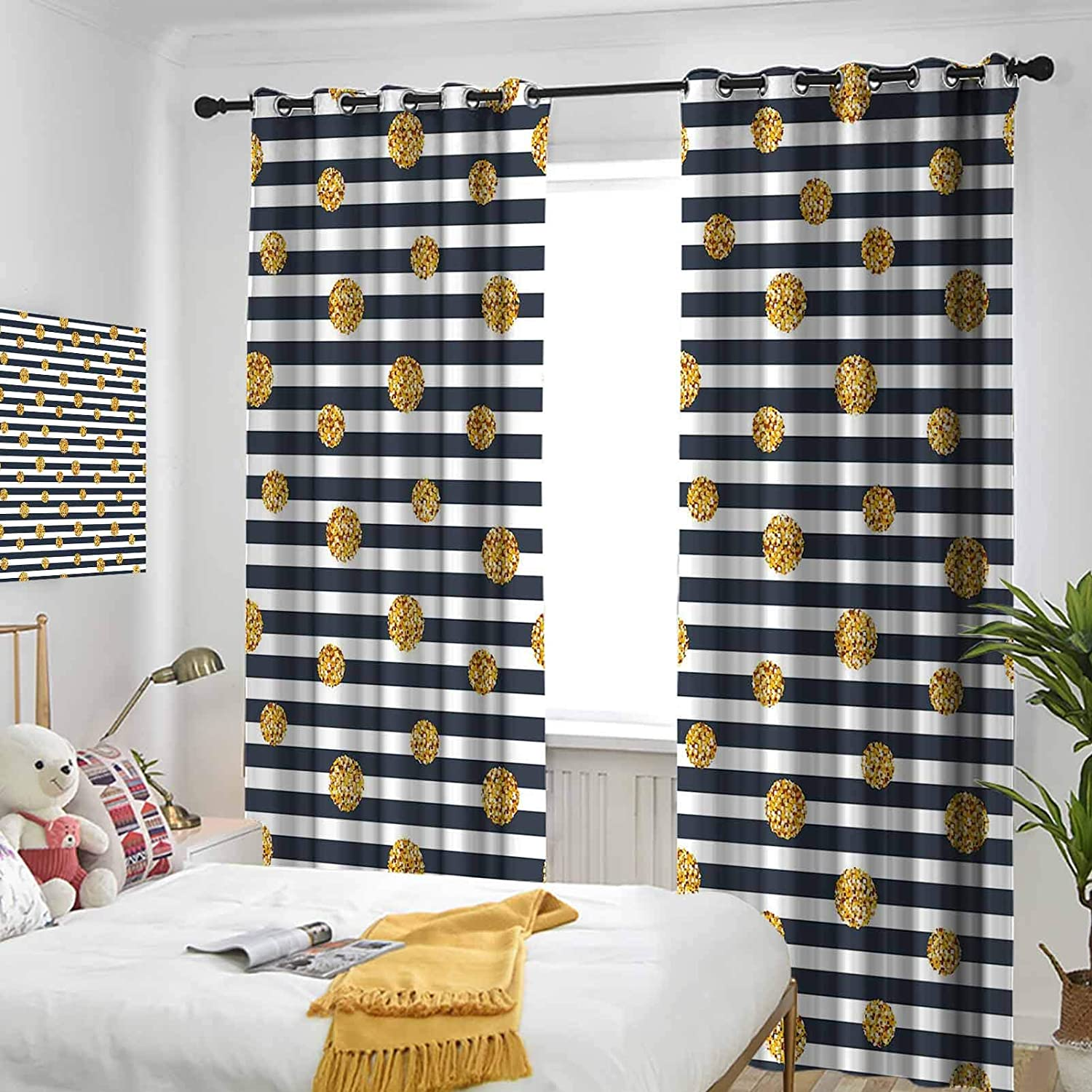 Gold and White Thermal Insulated Oklahoma City Mall Blocking Drapes Curtains Fort Worth Mall Light