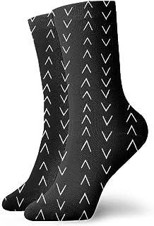 泥布風のジグザグ黒と白の鉄道ファッショナブルなカラフルなファンキー柄コットンドレスソックス11.8インチ