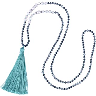 C·QUAN CHI Long Chain Pearl Tassel Necklace Handmade Crystal Beaded Pendant Bohemian Women Statement Jewelry for Women Gifts for Girls