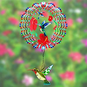 Holeohon Wind Spinners for Yard and Garden, Outdoor Hanging Decorations, 12 Inch Hummingbird 3D Wind Chimes, 360 Degrees Rotation Colorful Metal Wind Spinners for Indoor Porch Crafts Ornaments