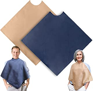 Adult Bib 2 Pack - Washable - Reusable - Waterproof - Stain Resistant - Clothing Protector in Navy Blue and Tan