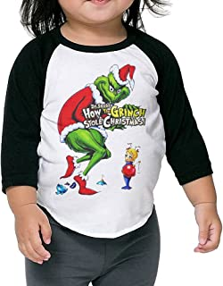 Autumn Kids Toddler How The Grinch Stole Christmas Crew Neck 3/4 Sleeves Raglan T Shirts