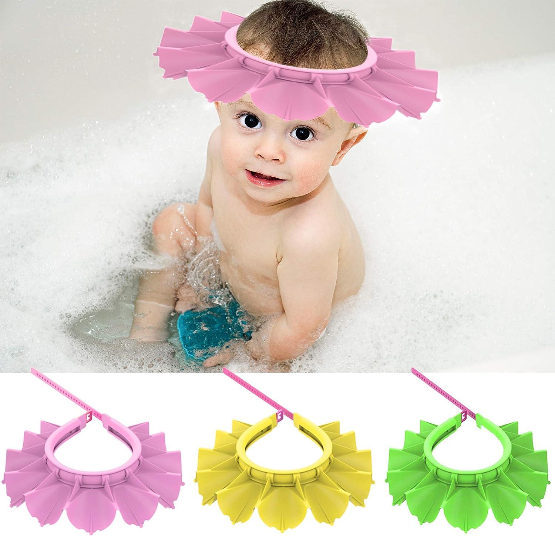 LHOTSE 3 PC Baby Shower Cap Silicone Baby Bathing Hat Adjustable Toddler Shower Cap Infant Soft Protection Visor Cap Funny Kid Bath Hat for Children Baby Kids