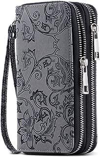 Cellphone Wallet for Women Dual Zipper Long Purse with Removable Wristlet
