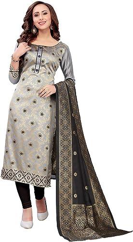 women jacquard cotton silk unstiched dress material