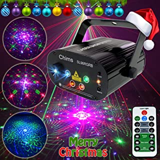 Chims DJ Laser Light Show Projector Red Green Blue Laser with LED 96 Patterns RGRB Remote Control Decoration Lighting System for Christmas Family Party DJ Disco Music Show Club Xmas (RGRB 96 Patterns)