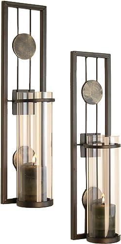 Juego de candelabro de pared, hierro, vidrio, decoración del hogar, 2 unidades