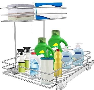 Amazon Com Pull Out Under Sink Cabinet Organizer Tksrn 2 Tier Slide Wire Shelf Basket 11 49w X 17 08d X 11 85h Request At Least 12 Inch Cabinet Opening