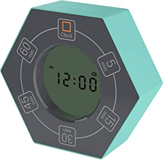 Home & Office Timer with Clock, 5,15, 30, 45, 60 Minute Preset Countdown Timer, Easy-to-Use Time Management Tool (Cyan)