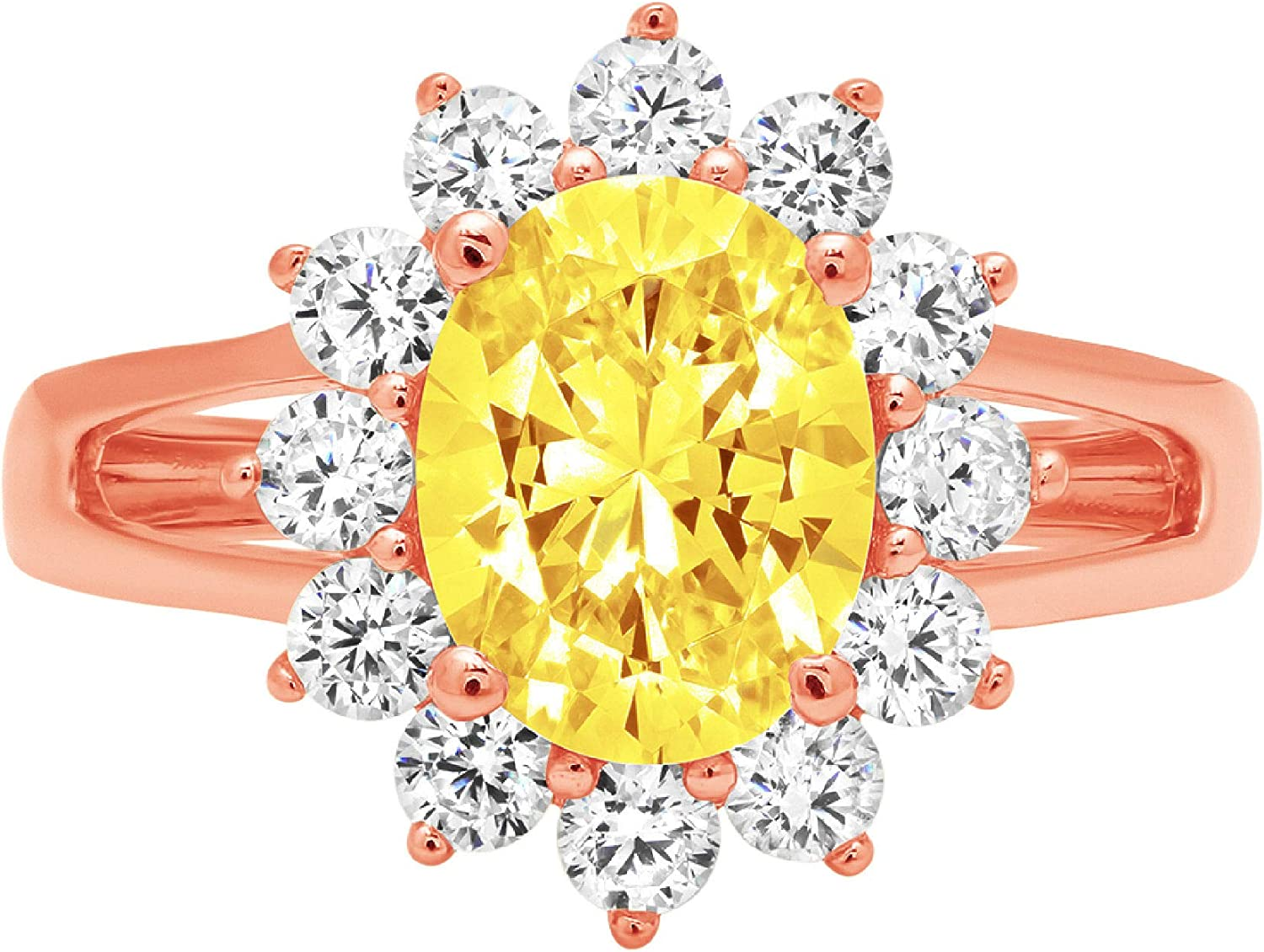 2.33ct Brilliant Oval Cut Solitaire Canary Fresno Mall with Accent Yell Halo Max 50% OFF