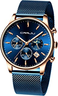 CRRJU - Reloj con cronógrafo y fecha para hombre, resistente al agua hasta 98.4 pies, de cuarzo y acero, con correa de malla