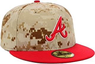 New Era Atlanta Braves MLB Baseball Memorial Day Stars & Stripes 59FIFTY Camo/Red Cap Hat