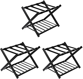 Tangkula Luggage Rack, Folding Metal Suitcase Luggage Stand, Double Tiers Luggage Holder with Shoe Shelf, Luggage Stand for Bedroom, Guest Room, Hotel (Set of 3)