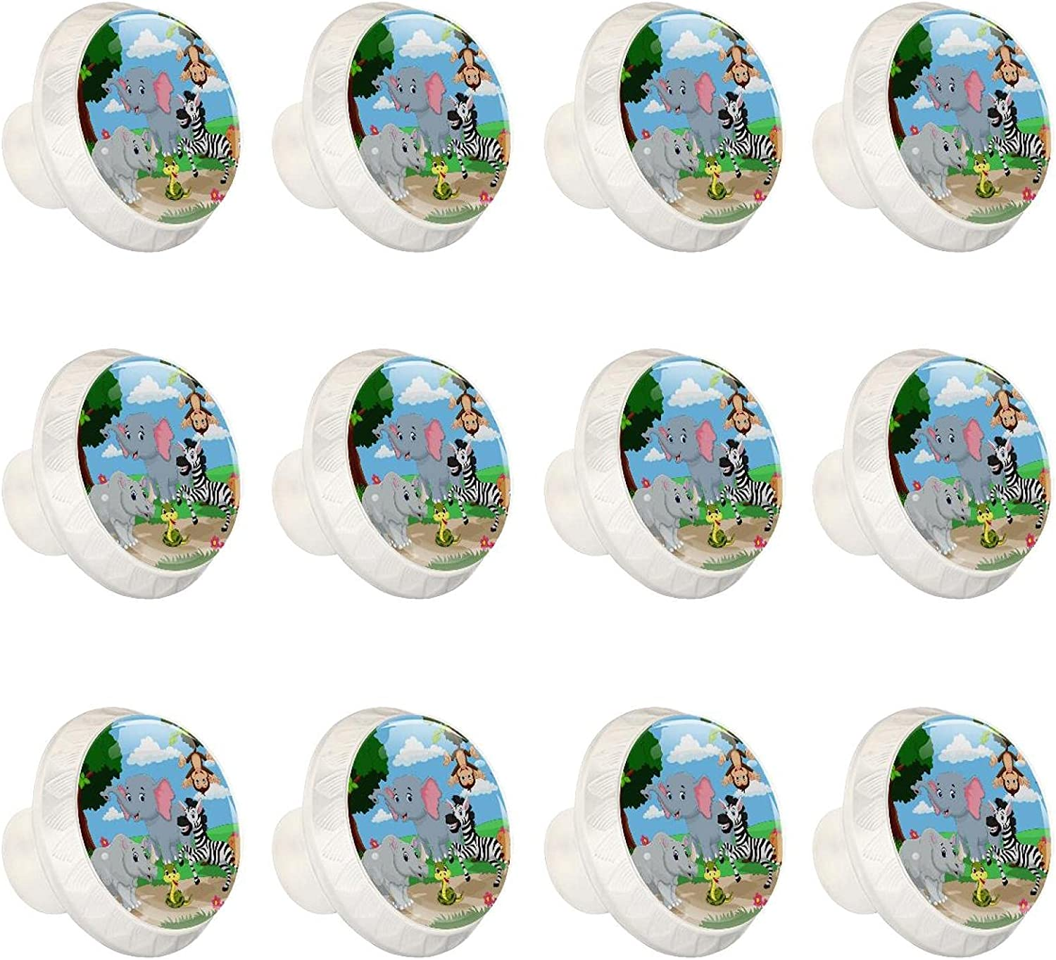 Zuyoon 12 Packs Cabinet Knobs Zoo Gla Surprise price Tree Colorful Las Vegas Mall Kids Animals