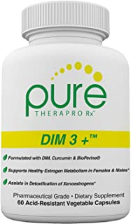 DIM 3 + (2 Month Supply) 60 Vegan Caps | DIM-200mg, Curcumin-250mg & BioPerine-2.5mg | Supports Healthy Estrogen Metabolism in Men & Women | Natural Aromatase Inhibitor | Pharmaceutical Grade