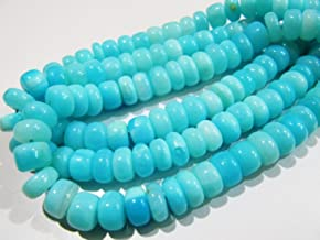 8 Inch Strand,Natural Peruvian Blue Opal Smooth Button Shape Beads,Size 7-7.5mm