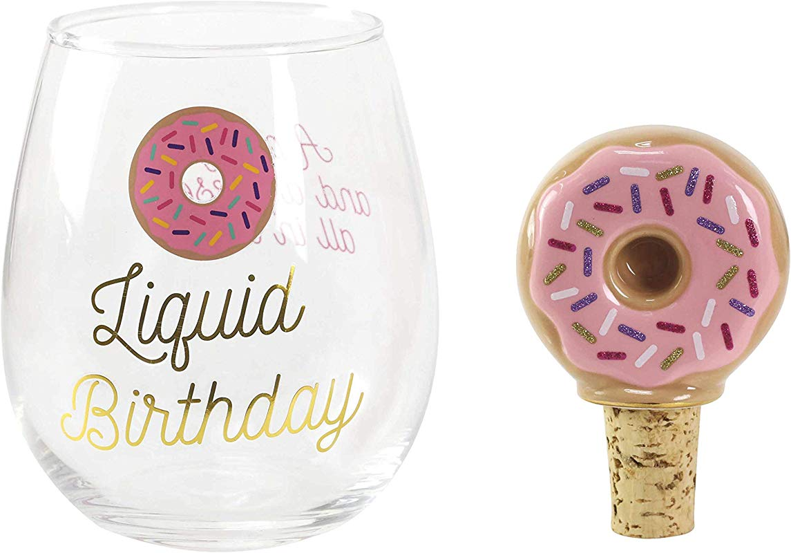 Enesco 6003672 Our Name Is Mud Liquid Birthday Donut Wine Glass And Bottle Stopper Set 16 Ounce And 3 Inch Multicolor