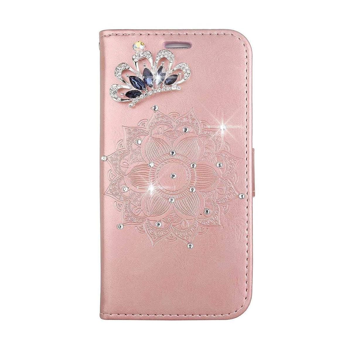 掻く四分円記念日OMATENTI iPhone SE/iPhone 5 / iPhone 5s ケース, ファッション人気ダイヤモンドの輝きエンボスパターン PUレザー 落下防止 財布型カバー 付きカードホルダー iPhone SE/iPhone 5 / iPhone 5s 用,ピンク