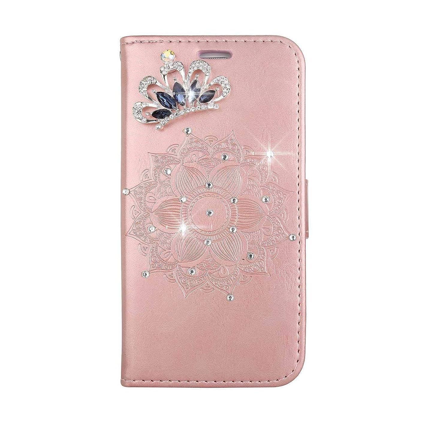 うなずく外交電子レンジOMATENTI iPhone SE/iPhone 5 / iPhone 5s ケース, ファッション人気ダイヤモンドの輝きエンボスパターン PUレザー 落下防止 財布型カバー 付きカードホルダー iPhone SE/iPhone 5 / iPhone 5s 用,ピンク