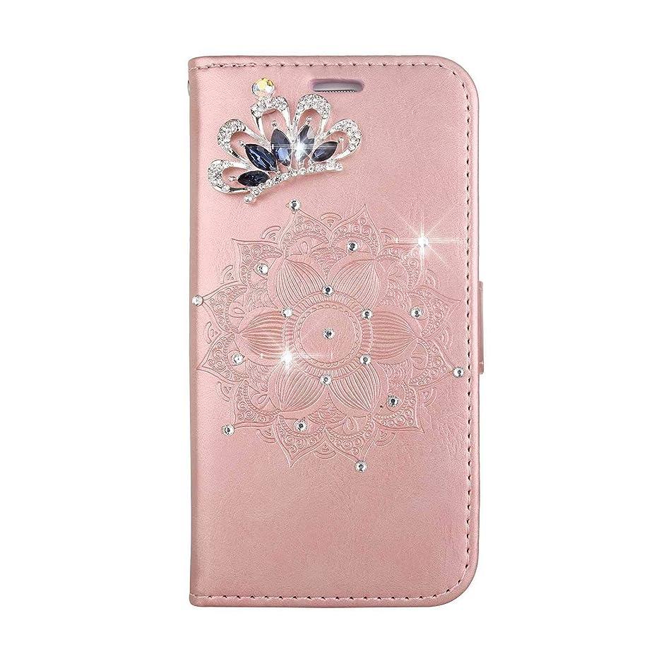 ポーチダニ容量OMATENTI iPhone SE/iPhone 5 / iPhone 5s ケース, ファッション人気ダイヤモンドの輝きエンボスパターン PUレザー 落下防止 財布型カバー 付きカードホルダー iPhone SE/iPhone 5 / iPhone 5s 用,ピンク