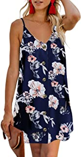 CILKOO Women's Floral Print Button Down Strappy Sleeveless Casual Flowy Mini Dress - Blue - Large