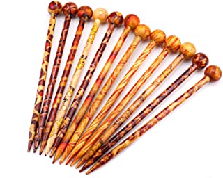 Monrocco Pack of 12 Pieces Retro Hair Sticks Printed Wood Hairpin Chopsticks for Women and Men